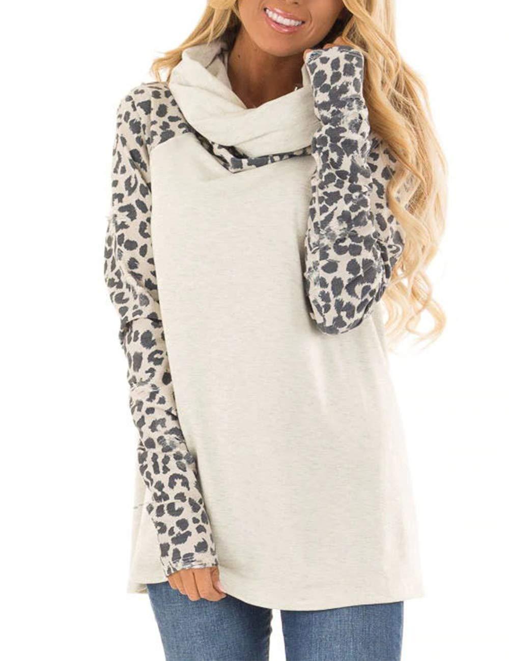 Blivener Women's Casual Sweatshirts Long Sleeve Leopard Print Tops Cowl Neck Raglan Shirts White L by Blivener