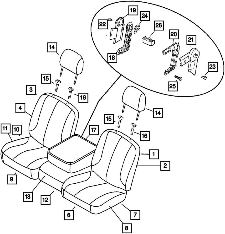 Seat Cushion Foam Front Right Mopar 68003013AA