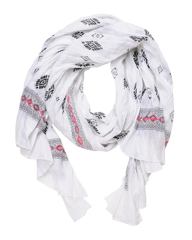 ImiLoa Tuch aus Baumwolle mit Printmix in Weiß-Schwarz, Hippie Tuch, Bohemian Tuch, Sommer Tuch, leichtes Tuch, Strand tuch, leichter Schal