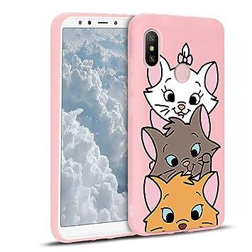 ZhuoFan Funda Xiaomi Mi A2, Cárcasa Silicona Rosa con Dibujos Diseño Suave Gel TPU Antigolpes de Protector Piel Case Cover Bumper Fundas para Movil ...