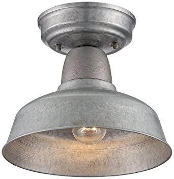 Urban Barn 10 14 Wide Galvanized Outdoor Ceiling Light