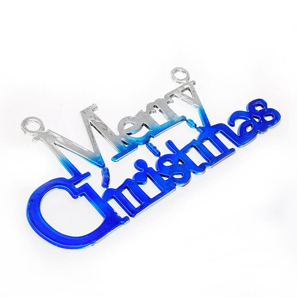 Morecome Xmas Tree Decoration Merry Christmas Letter Card for Hanging Ornament (Blue)