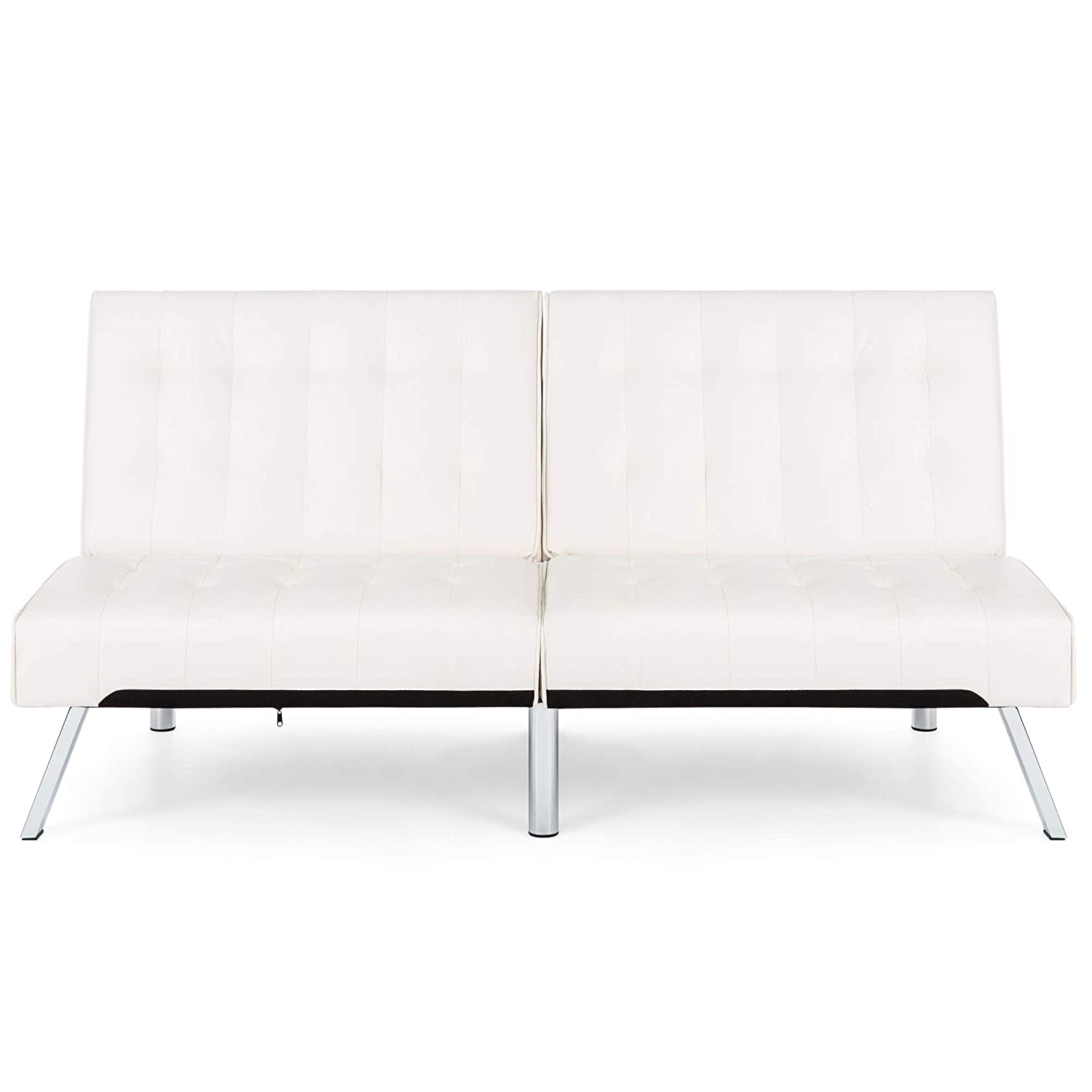 Amazon com best choice products modern leather futon sofa bed couch recliner lounger sleeper w chrome legs white home kitchen