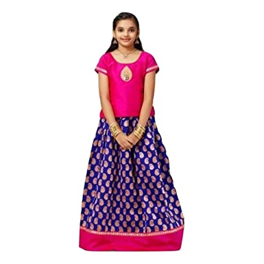cb1cb62f26f8b RATHI Girls - Kanchipuram Pattu Pavadai Traditional South Indian Festival  Dress (3-4 Years): Amazon.co.uk: Clothing