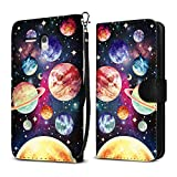 Alcatel Onetouch Fierce XL 5054 Flint Case, FINCIBO Ultra Slim Protective Carry Flip Canvas Wallet Pouch Case with Credit Card Holder TPU Cover, Planet Solar System