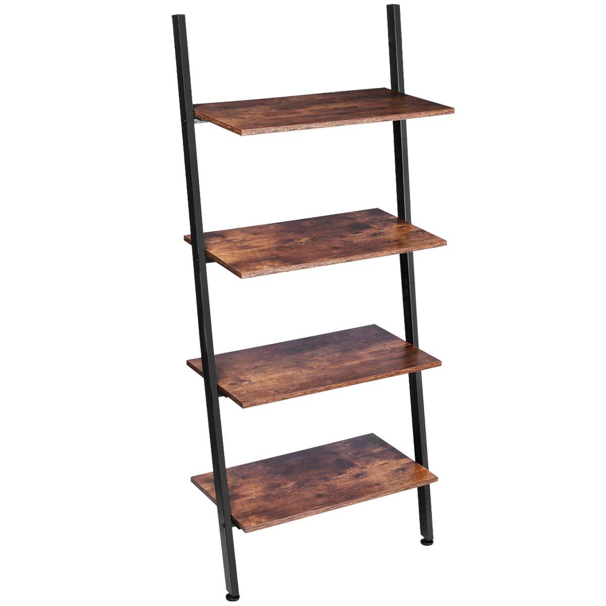 KINGSO Ladder Shelf 4-Tier Bookshelf Leaning Storage Rack Shelves for Living Room Kitchen Home Office Metal Frame Stable Sloping Industrial Ladder Shelfs Leaning Against The Wall Rustic Brown