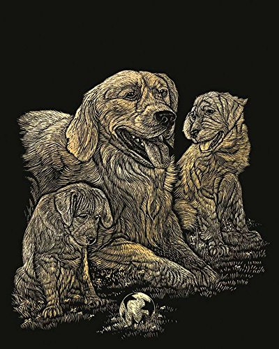 ROYAL BRUSH GOLFOIL-11 Gold Foil Engraving Art Kit, 8 by 10-Inch, Golden Retriever and Puppies