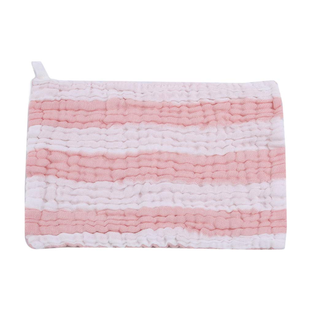 HAOWANG 6 Layers of Gauze Baby Small Square Towel Color Bar Shape Baby Cotton Towel Pink White Strip