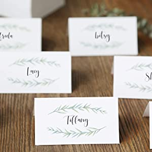 UNIQOOO 100 Pack Greenery Table Place Cards, Seating Cards, Elegant Botanical Wreath Twig Design   Perfect for Wedding, Party, Bridal Shower, Banquet Catering, Any Events   3.5