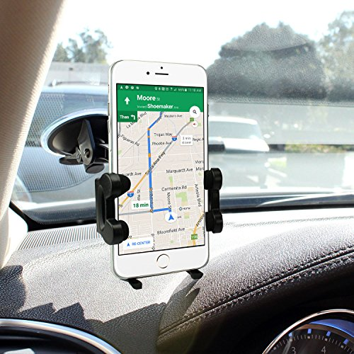 Cellet Windshield Car Mount Phone Holder with Large Suction Cups Compatible with iPhone 8/8 Plus/X, 6/6 Plus, Samsung Galaxy S8/S8 Plus, Note 8, Nexus 5X/6P, HTC 10, Moto Z- Black