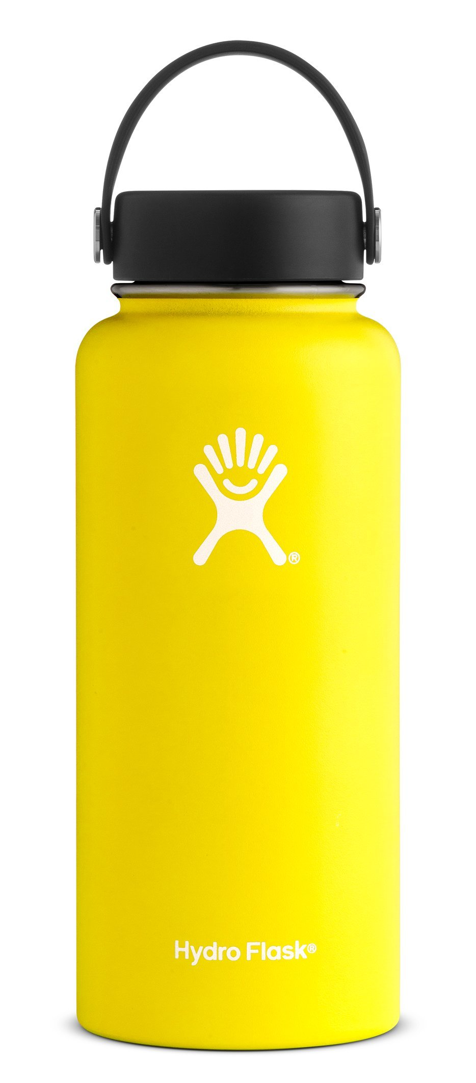 Hydro Flask 32 oz Double Wall Vacuum Insulated Stainless Steel Leak Proof Sports Water Bottle, Wide Mouth with BPA Free Flex Cap, Lemon by Hydro Flask