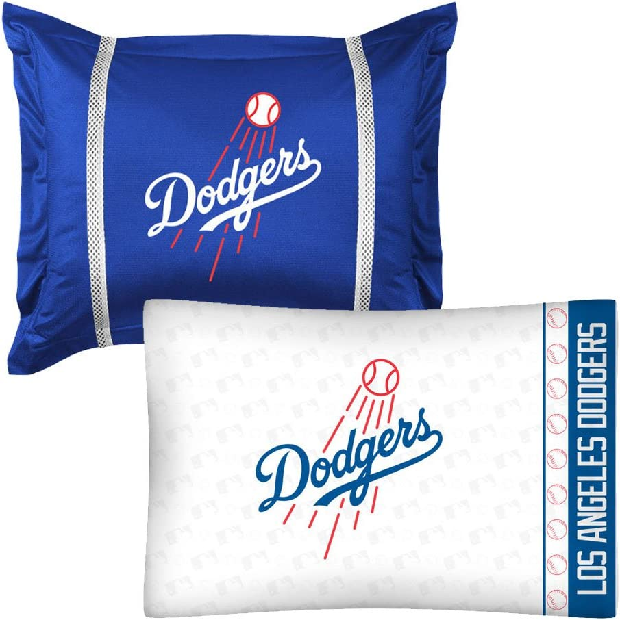 2pc Mlb Los Angeles Dodgers Pillowcase And Pillow Sham Set La Baseball Team Logo Bedding Accessories Amazon Co Uk Kitchen Home