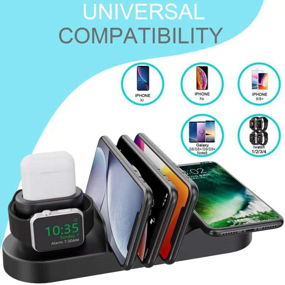 Co-Goldguard Wireless Charging Stand 6 in 1 Charger Station Compatible with iPhone Airpods Apple iWatch Series 5//4//3//2//1 iPhone 11//11 Pro//11 Pro Max//X//XR//8 Plus//All Qi Phones
