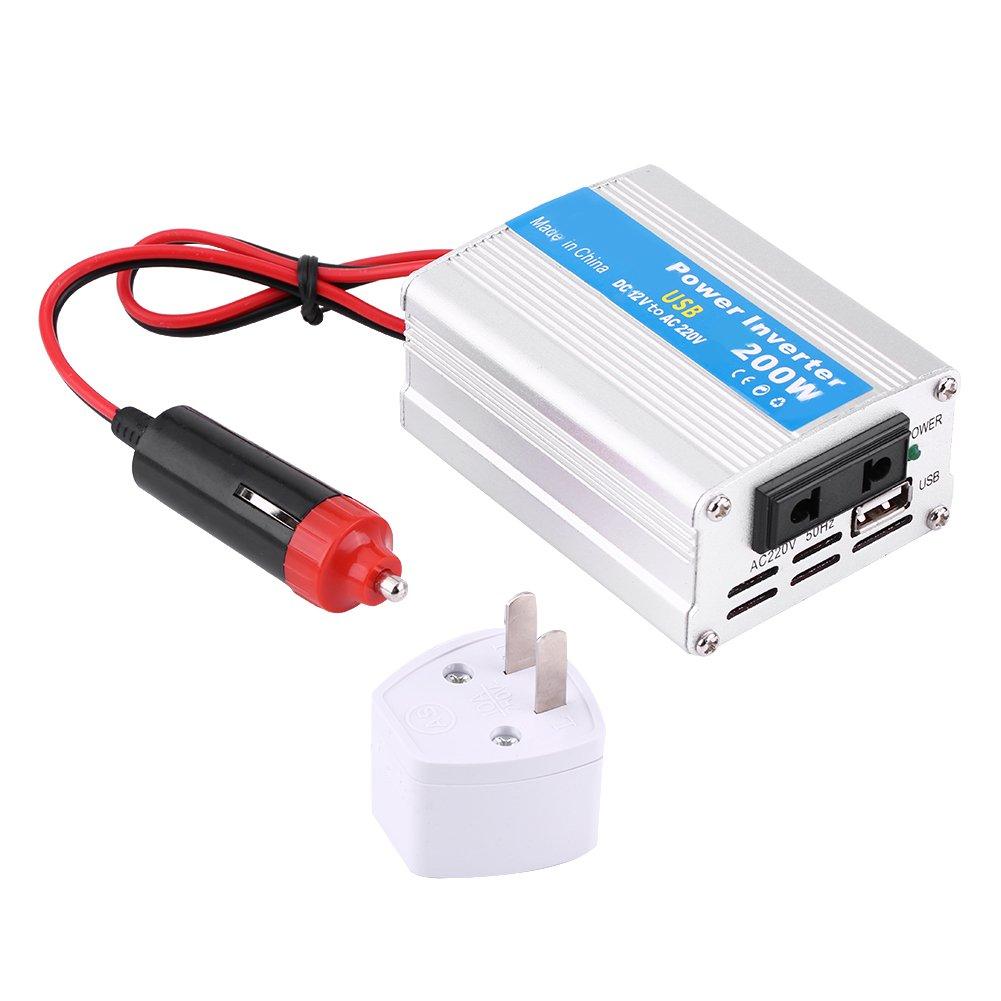 Cocoarm Silber 200W DC 12V zu AC 220V Auto Power Inverter Converter USB Ladeger/ät Adapter
