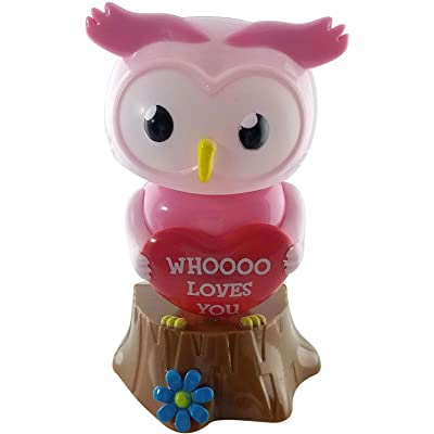 Valentine's Valentines Day Solar Bobble Owl Dancing Whoooo Loves You (Pink): Toys & Games
