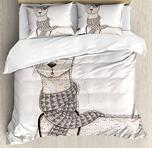 Ambesonne Teen Room Duvet Cover Set, Hipster Lama with Hair Style and Camera Artist Animal Humorous Graphic, Decorative 2 Piece Bedding Set with 1 Pillow Sham, Twin Size, Beige Tan (Artist Bed Set)