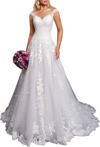Women S A Line Lace Wedding Dresses For Bride V Neck Princess Ball Gown Sweep Train At Amazon Women S Clothing Store