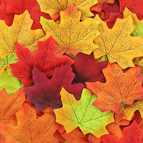 CEWOR 1000pcs Assorted Artificial Maple Leaves Mixed Fall Colored for Wedding Home Thanks-Giving Events and Outdoor Decoration (Artificial Maple Leaves)