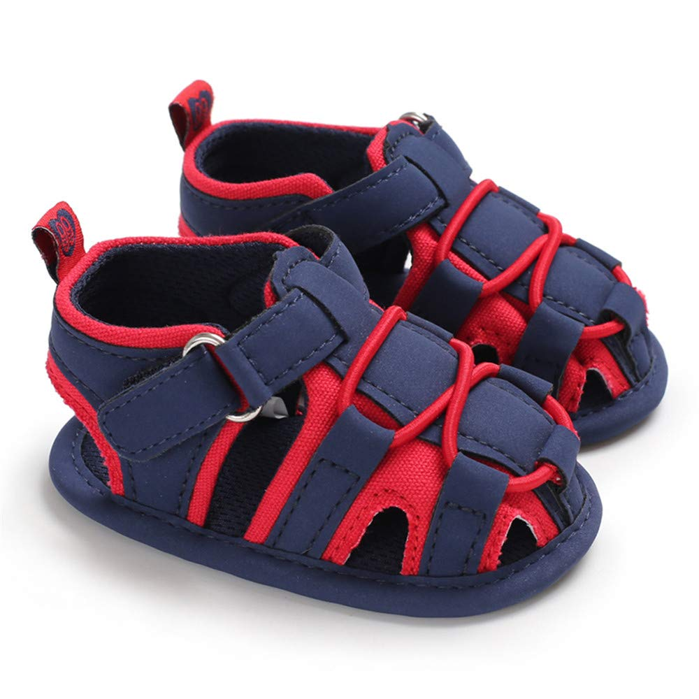 Babelvit Infant Baby Boys Summer Sandals Soft Rubber Sole Non-Slip First Walkers Shoes(3-18 Months)