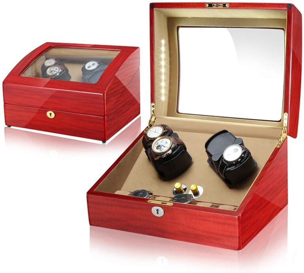 時計ワインダークアッド自動時計ワインダーは、LEDライトと静かなモーターを備えた4 + 6時計用の収納ボックスを表示します