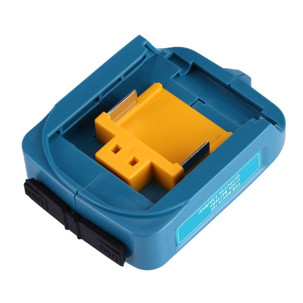 USB Charging Adapter for ADP05 Makita BL1815 BL1830 BL1840 BL1850 1415 14-18V(Blue) Haofy