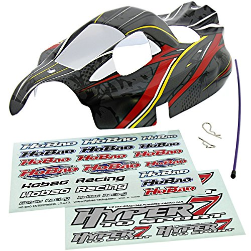 Hobao 1/8 Hyper 7 TQ Ofna Gray, RED & Yellow Body & Decals Shell Cover - 1/8 Body Buggy
