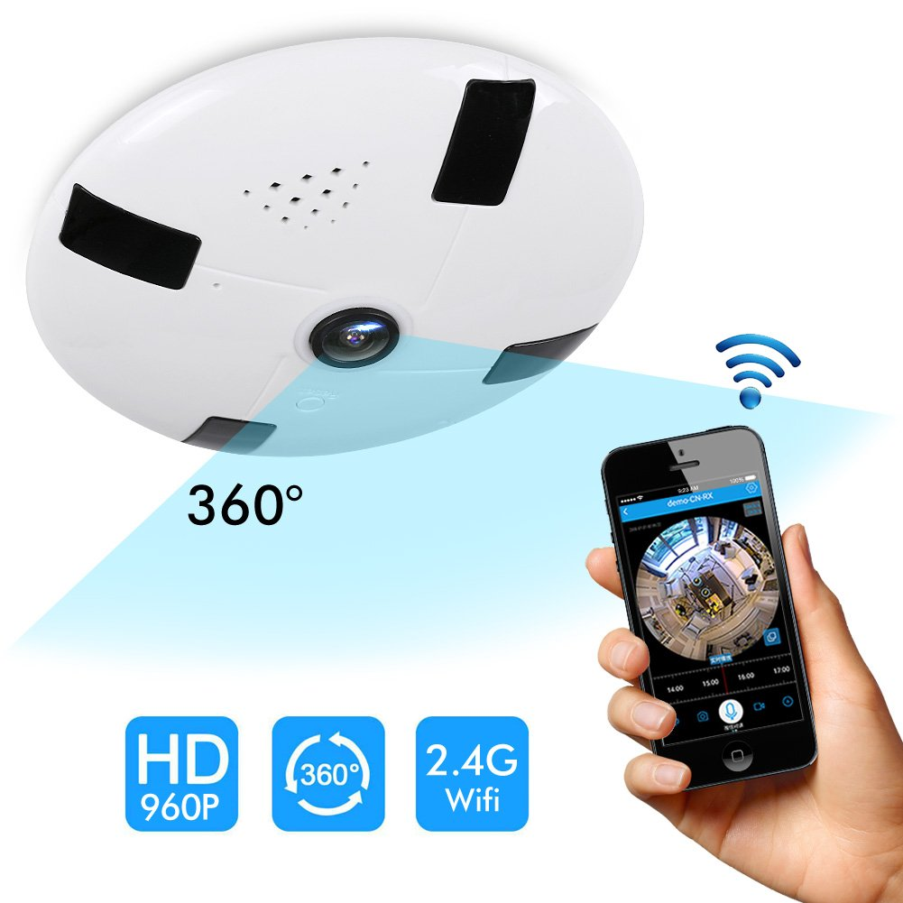 Panoramic Ceiling Camera 360 Degree Camera 960P IP Wireless 3D VR Surveillance Monitor with IR Night Vision and Motion Detection For Iphone Android APP Remote Control