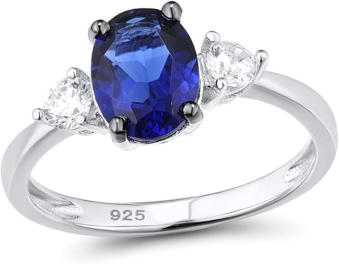 Santuzza 925 Sterling Silver Ring Simulated Sapphire Color Cubic Zircon White CZ Stones Engagement Band for Women