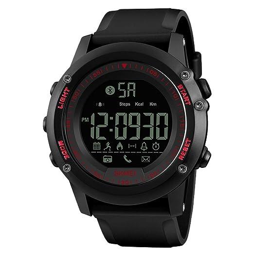 OUMOSI - Reloj Inteligente para Hombre con Bluetooth y LED: Amazon.es: Relojes