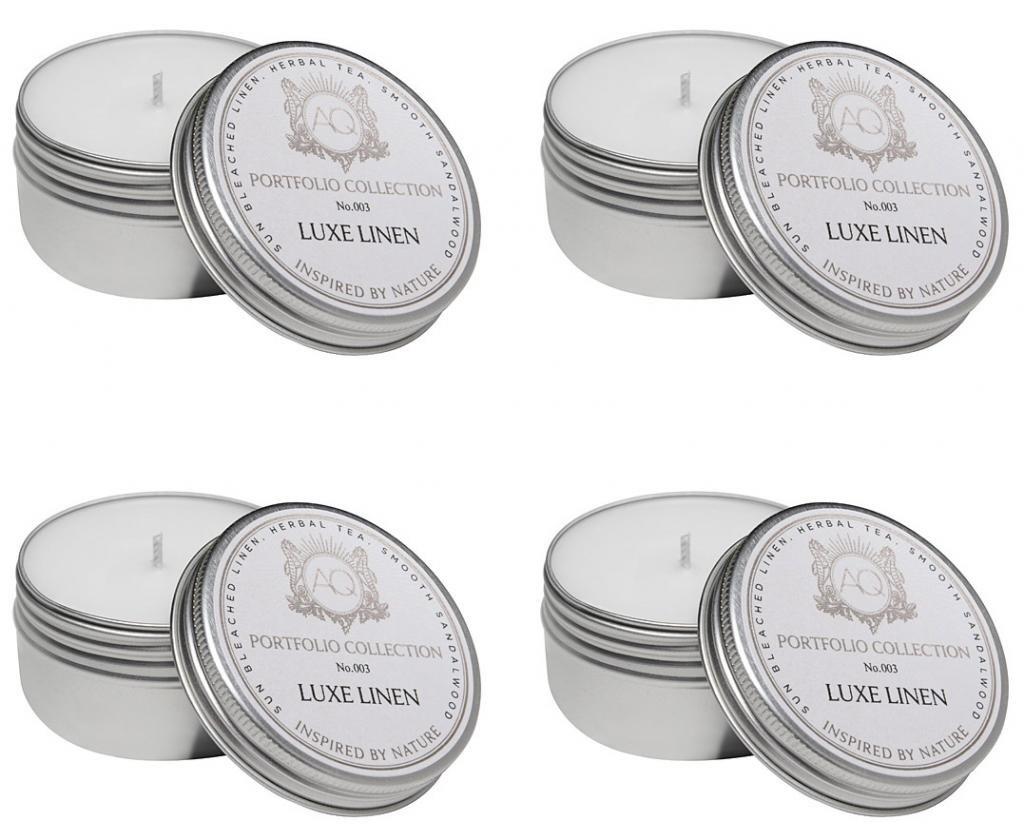 Aquiesse Travel Tin Candle Set, 4 Pack, Cherimoya