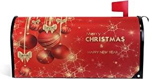 Merry Christmas Magnetic Mailbox Cover MailWraps Happy New Year Decor Gold Xmas Balls Mailbox Covers Wraps Post Box Standard Size 20.8