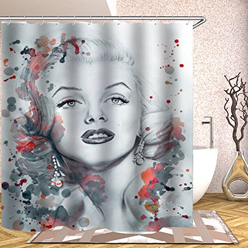 BCNEW Character Theme Shower Curtain Marilyn Monroe Individual Portrait Waterproof Mildew Resistant Polyester 70 x 70 Inches