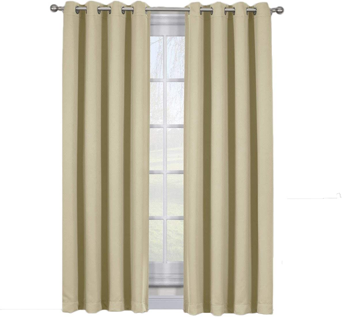 Royal Tradition Ava 108-Inch Wide-by-108-Inch Long, Set of 2, Triple Weave-Blackout Curtains with Tie Backs, Beige