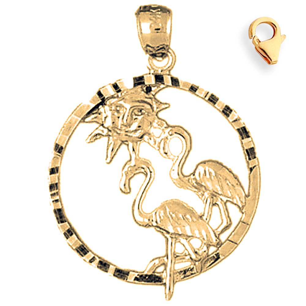 31mm Silver Yellow Plated Flamingo Charm