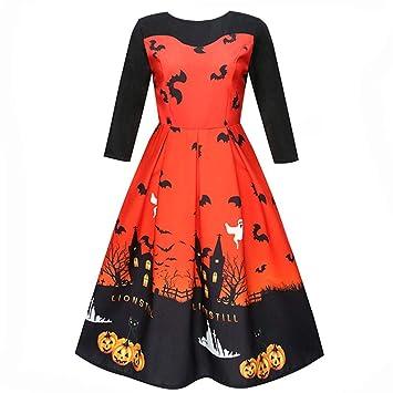 Saihui_Women Dress Vestido de Mujer con Clase años 50, Vintage, Cuello de Barco,