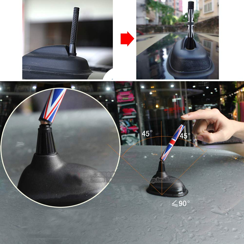 All Models /& More Other Cars Miniclue 5558975414 MINICLUB 3 Black//Gray Union Jack UK Flag Theme Short Roof Top Radio Antenna Stub for Mini Cooper