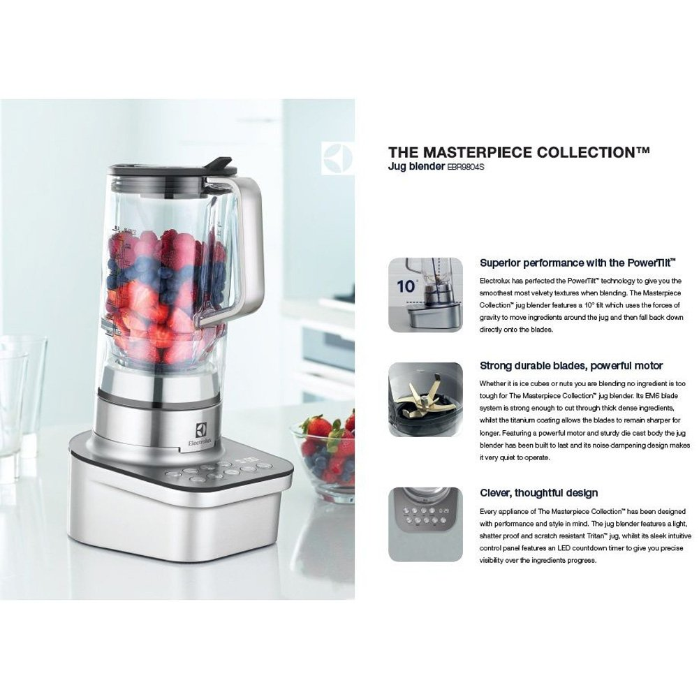 Amazoncom Electrolux EBR9804S Masterpiece Collection Blender Mixer 1600W  Smoothies Maker 220V  Free GIftKey Ring Kitchen u0026 Dining