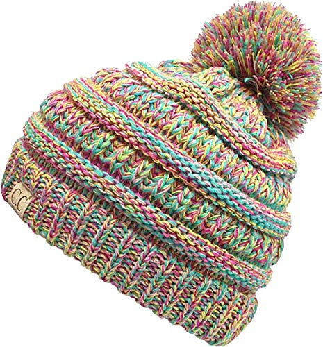 H-6847-816k.41 Girls Winter Hat Warm Knit Slouchy Kids Pom Beanie - Rainbow #11