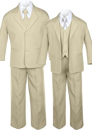 Unotux 6pc Boys Khaki Vest Set Suits with Satin Orange Necktie Outfits Baby Teen