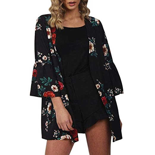 27ee9eaac6c49 Mnyycxen Women's Casual Flower Print Chiffon Shawl Kimono 3/4 Sleeve  Cardigan Tops Beach Outwear