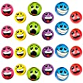 """Wish Novelty - Set of 24 Emoji Silly Face Foam Colorful Stress Balls (2.5"""") - Soft, Fun Novelty Toy Gift Bundle - Bright, Assorted Colors for All Ages!"""