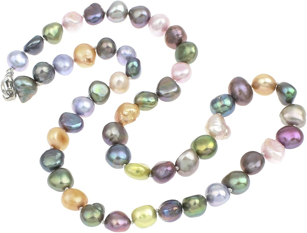 Impresionante collar de perlas de agua dulce, de 8 o 9 mm, con distintas longitudes de cadena a elegir y presetnado en una bonita caja de regalo de TreasureBay
