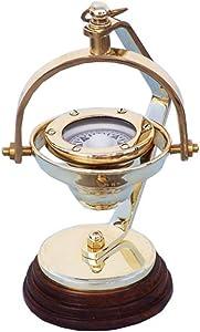"Hampton Nautical 3xglass-101 Solid Brass Hanging Compass 8"" Nautical Home Decoration, 8"""