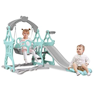 Toddler Climber and Swing Set, Mosunx 3 in 1 Mountaineering Slide & Swing Playset with Basketball Hoop, Best Gift Indoor and Backyard Baskets Play Set for Kids Boys Girls (3-9 Years Old, Blue): Arts, Crafts & Sewing