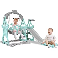 Homefami Toddler Climber and Swing Set with Smooth Slide Basketball Hoop Easy Climb Stairs Safe HDPE Material for Indoor and Backyard (Blue)