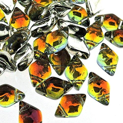 Czech Glass GemDuo Beads, 2-Hole Diamond Shaped Beads 5x8mm, 10 Grams, Backlit ()