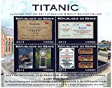 Titanic Launch four old posters and tickets - 4 stamp sheet / Republic Benin / MNH