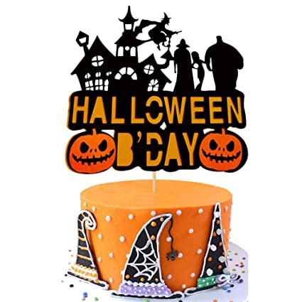 Phenomenal Halloween Birthday Cake Topper Pumpkin Haunted House Ghost Witch Funny Birthday Cards Online Alyptdamsfinfo