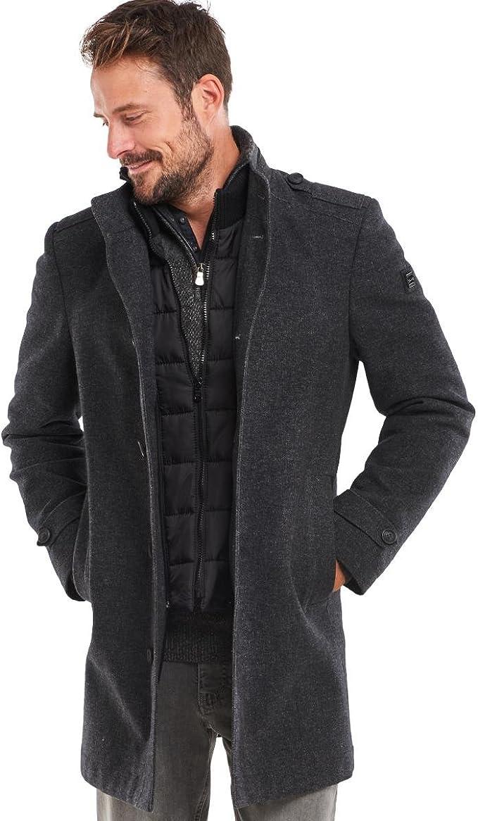 engbers Herren Modischer Mantel mit Stehkragen, 24606, Grau