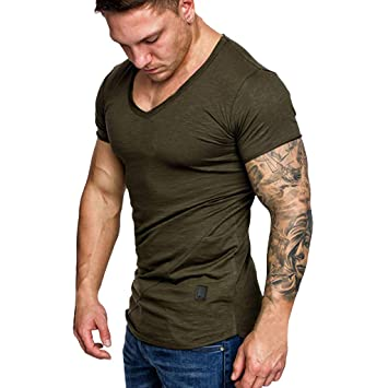 c06f5a1c Image Unavailable. Image not available for. Color: Mens Bodybuilding Short  Sleeve V Neck T-Shirts Muscle ...
